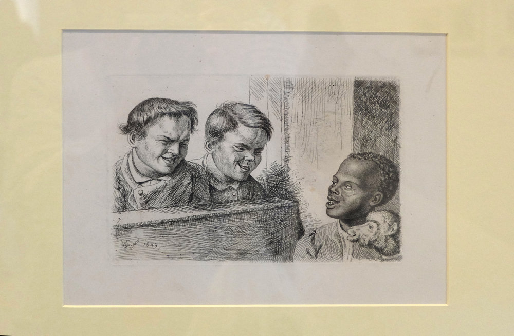 LUDWIG EMIL GRIMM, The two boys from Wolfsanger near Kassel and the negro boy, 1849. Etching.  Neue Galerie, Kassel.