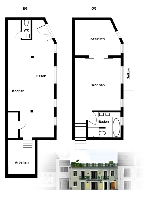 Grundriss des Lofts