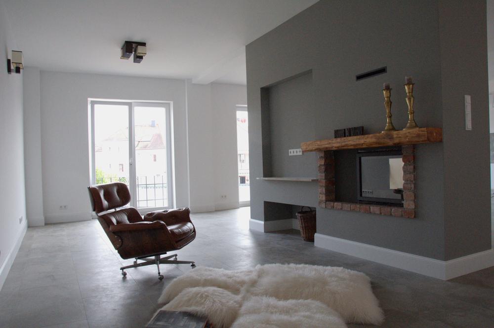 Wohlfühl Loft in Frankfurt zu Mieten - Wohnzimmer mit Kamin