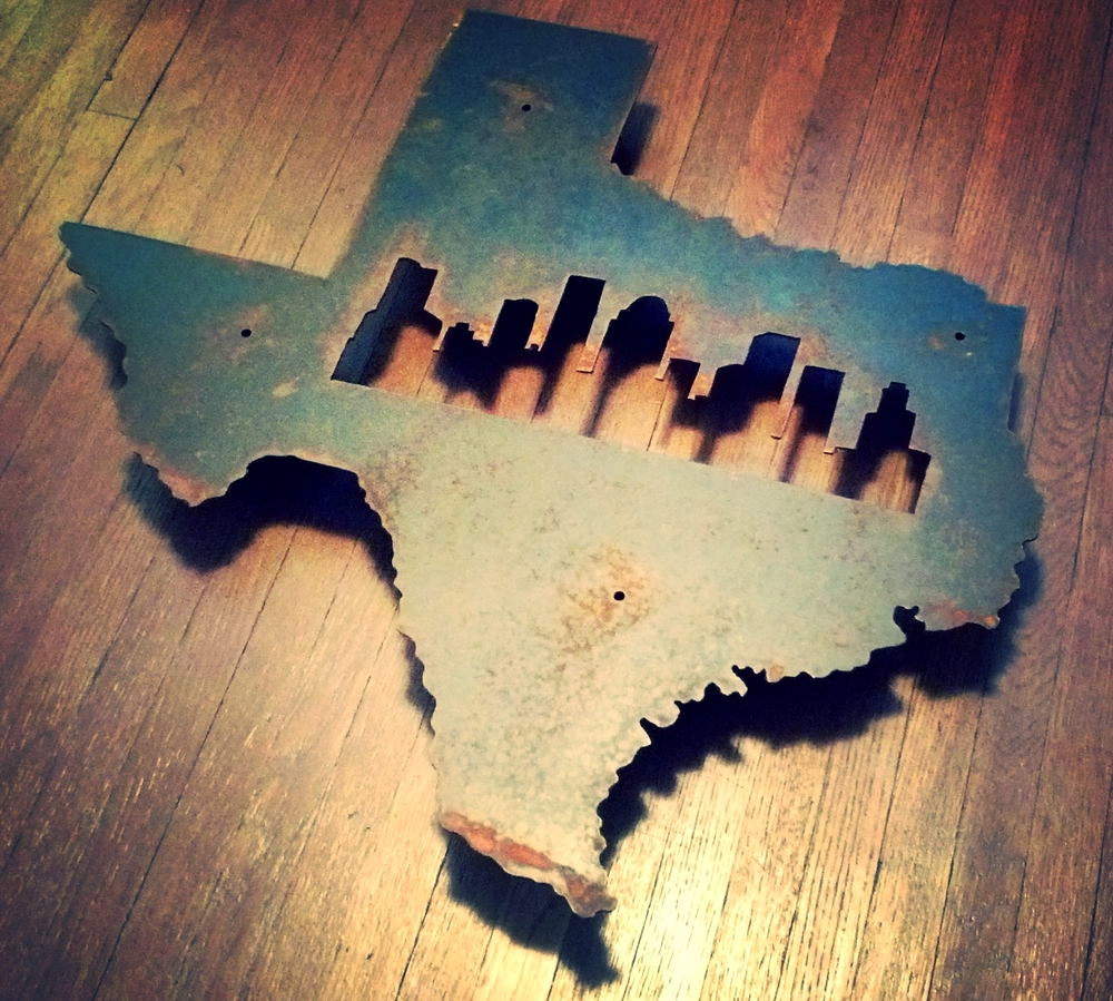 Custom State with a city skyline - Texas with Houston Skyline shown above.    We can create any State with a city skyline of your choice.