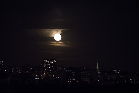 Moonrise over Paris from our apt.