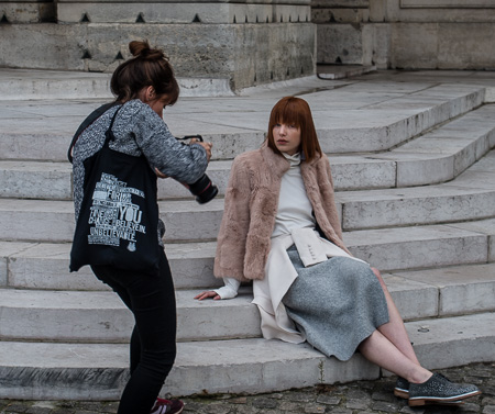 Fashion shoot on steps of local church