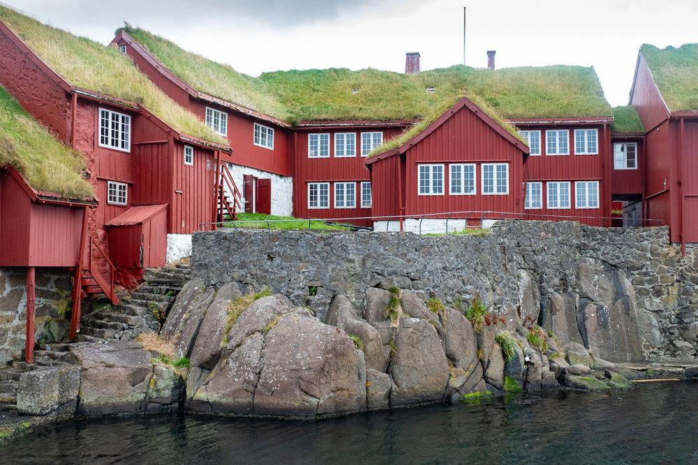 Grass roofed houses, Torshavn harbour