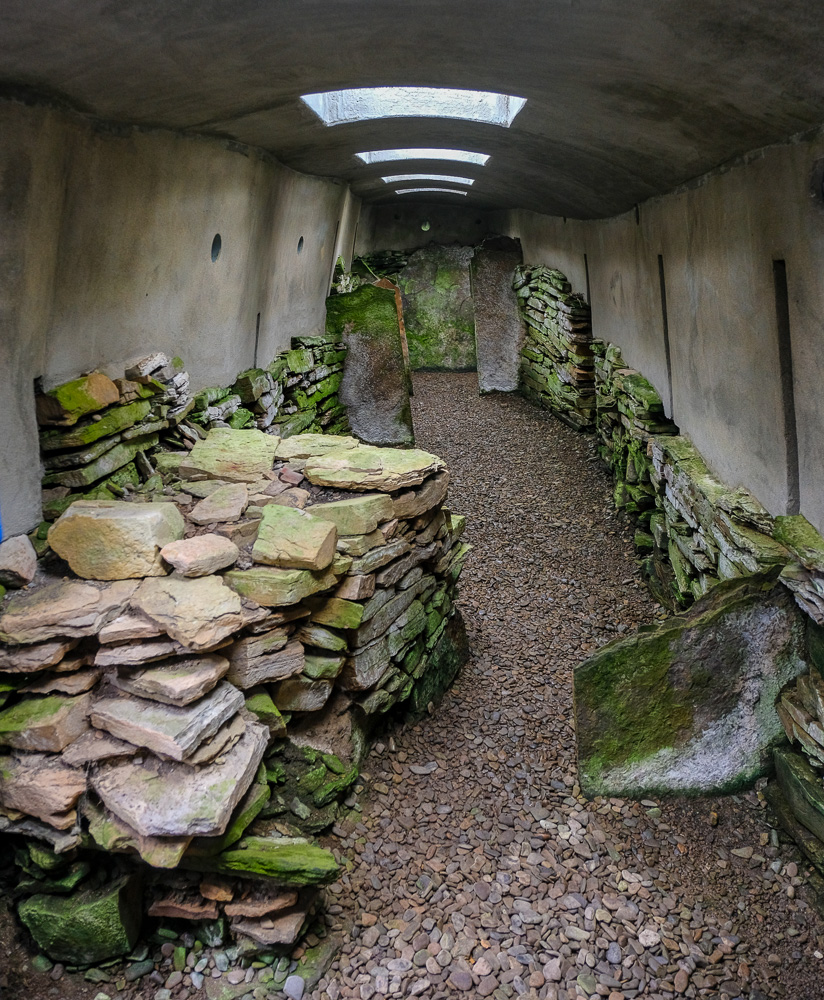 Inside a 5500 year old burial chamber, covered to protect what remains.