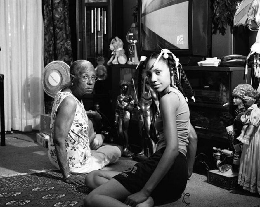 """Grandma Ruby and JC in Her Kitchen, 2006"" by LaToya Ruby Frazier from the book  The Notion of Family ."