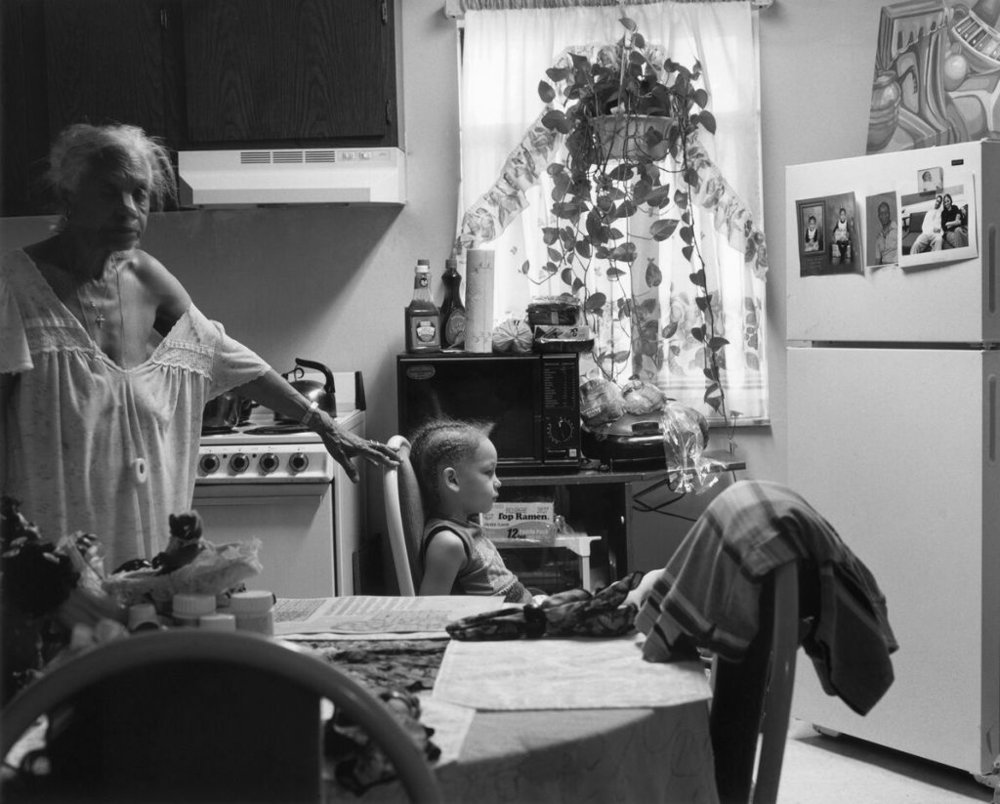 """Grandma Ruby and JC in Her Kitchen, 2006"" by LaToya Ruby Frazier from the book The Notion of Family."