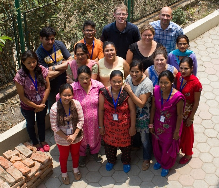 Corban is the tall guy, center back.  These are some of the Purnaa staff and trainees who worked on my line!