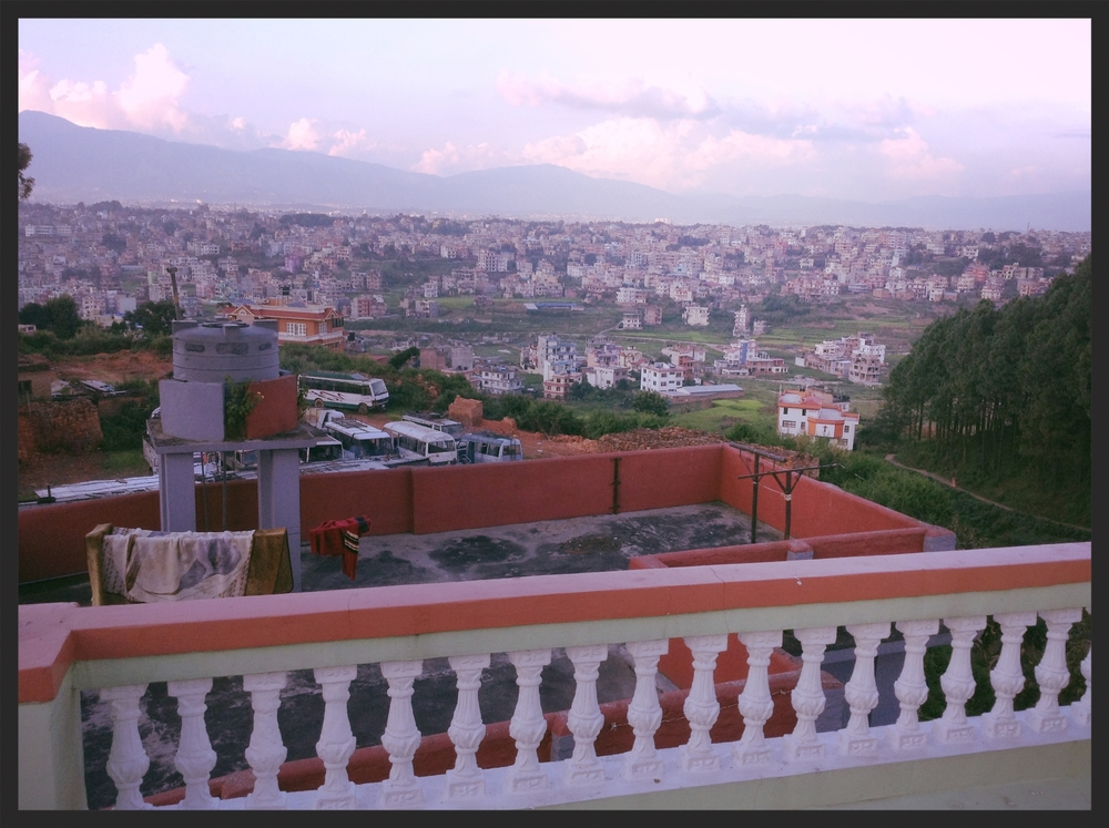 View from the rooftop of the Purnaa building at dusk. Kathmandu, Nepal.