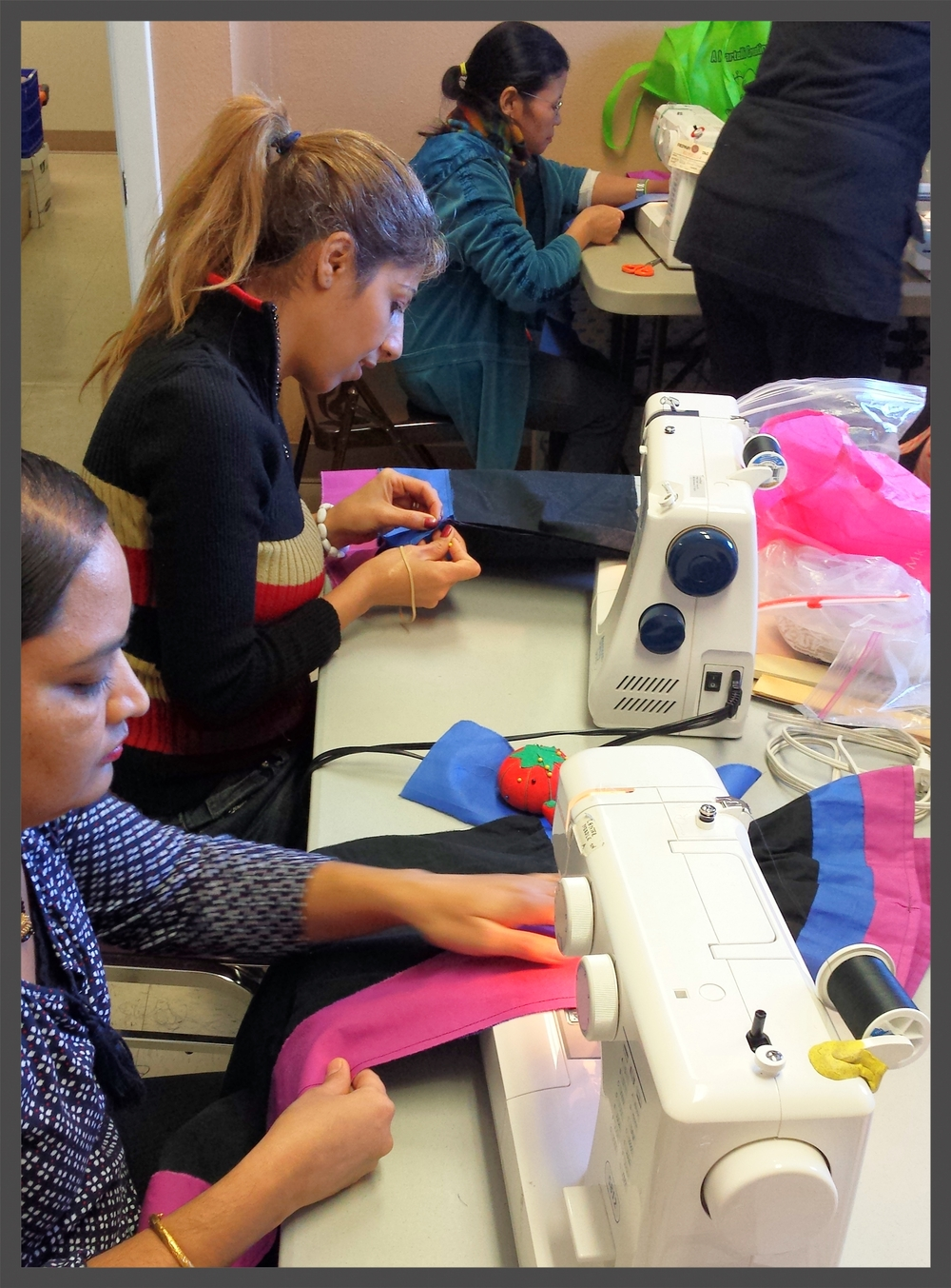 Friday morning sewing class is a fun time to learn and practice sewing skills, and form friendships with women from ALL OVER THE WORLD!