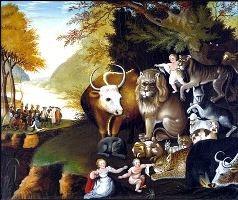 'The Peaceable Kingdom' by Edward Hicks,1834. Difficult to imagine in reality, but as a symbolic piece, it speaks volumes! If humans could integrate emotional and instinctual reactions instead of projecting them onto 'the other', then we would be on our way to the 'peaceable kingdom'. The background 'peace' conference gives us the hint.