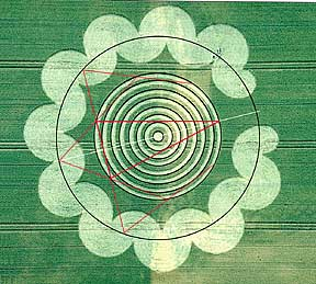 Equilateral version of Hawkins' fifth crop circle theorem was found in the crop glyph's embedded geometry. The theorem had neither been published nor revealed to the public. Litchfield, UK 1995