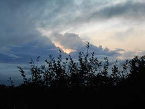 The night before the arrival, the sun kept peeping in and out of the clouds, playing hide and seek!