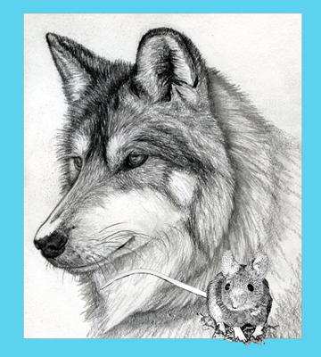 The wolf represents Guardianship, Ritual, Loyalty and Spirit; the mouse, Attention to Detail.