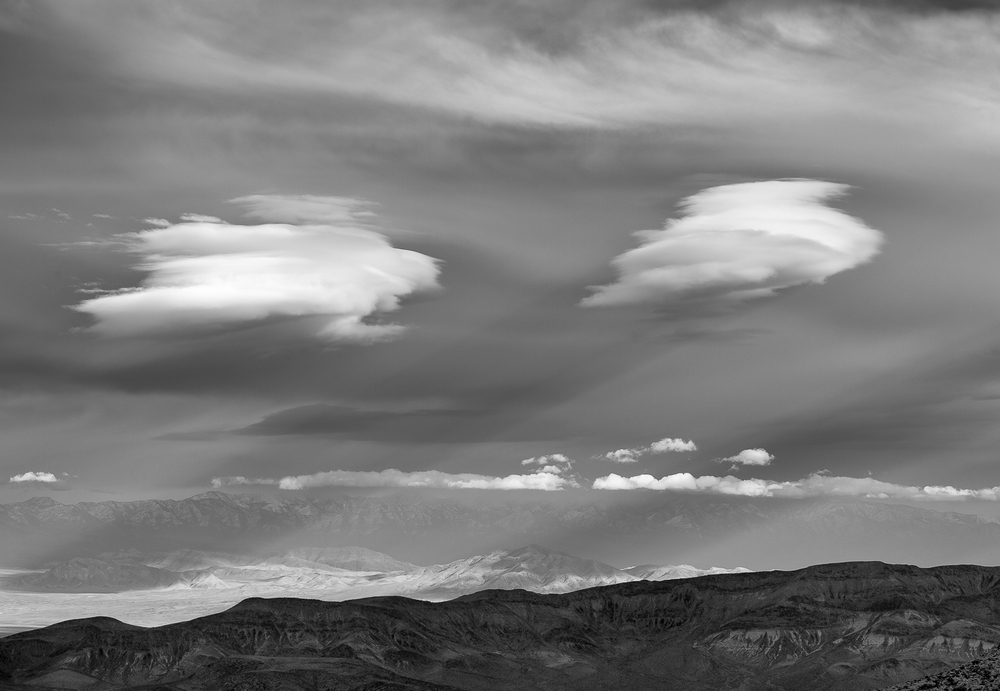 Two Clouds at Dante's Peak, Death Valley, 2012