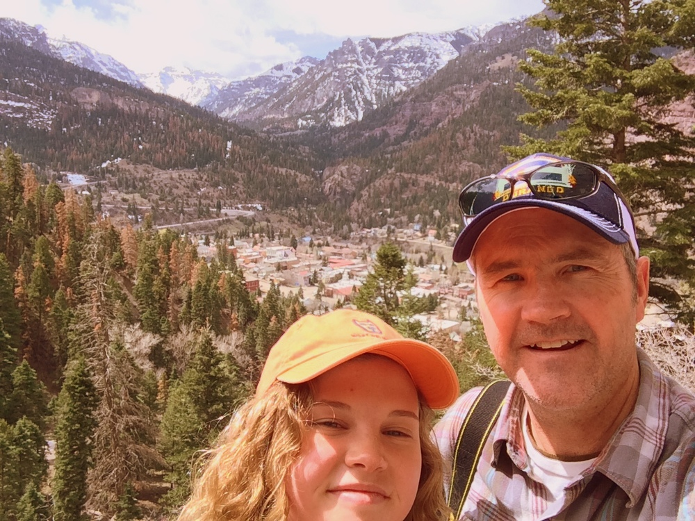 Pitctured: Tom Scotty (COO of RedShelf) with daughter, Alex, 17, hiking the mountains in Ouray, CO