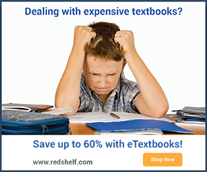 An example of RedShelf's creative banner that is available to affiliates
