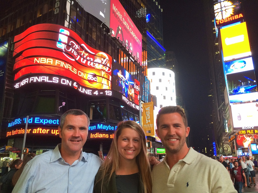 Pictured: Tom Scotty, Briana, and Greg in Times Square enjoying the sights before heading to dinner!