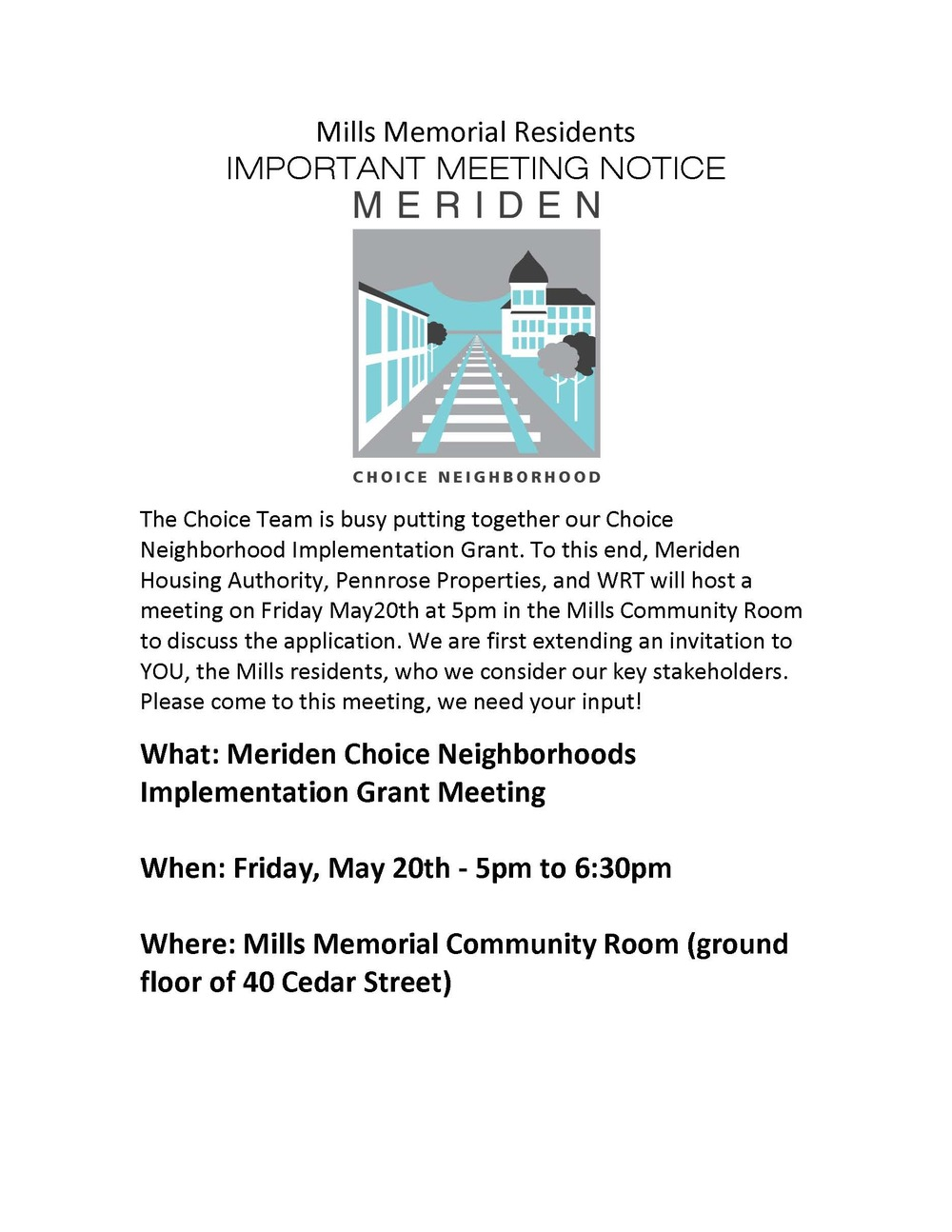 ENGLISH Flier for Choice implementation grant meeting at Mills 5.20.16.jpg