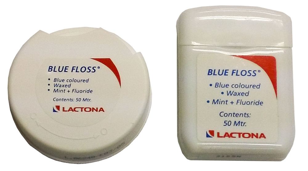 55025   -   Blue Floss   (50 mtr per dispenser)  lightly waxed to prevent abrasions to delicate gingiva, infused with fluoride and                  a fresh mint flavor.   55033   -   Blue FlossTape   (40 mtr per dispenser) slightly thicker than the Blue Floss, lightly waxed to prevent abrasions to delicate gingiva, infused with fluoride and a fresh mint flavor.