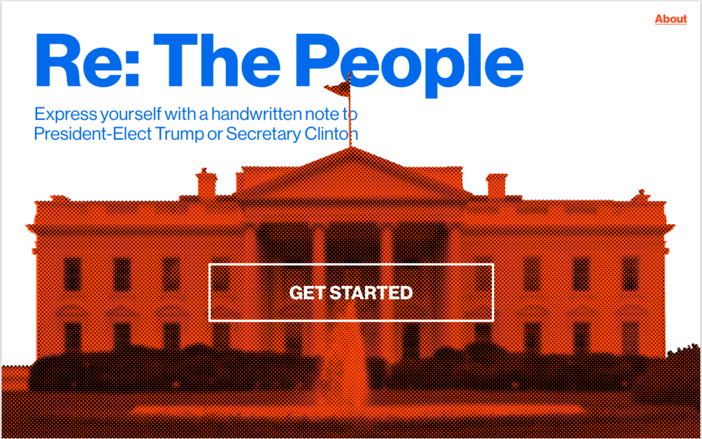 Above the fold image for Re: the People, a post-election correspondence campaign powered by Bond