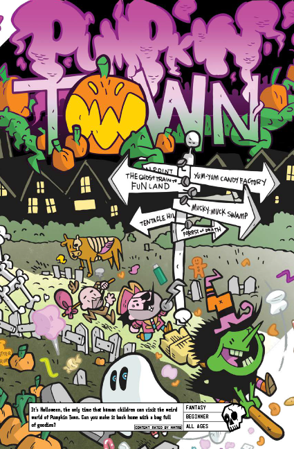 Pumpkin Town - It's Halloween, the only time that human children can visit the weird world of Pumpkin Town. Can you make it back home with a bag full of goodies?