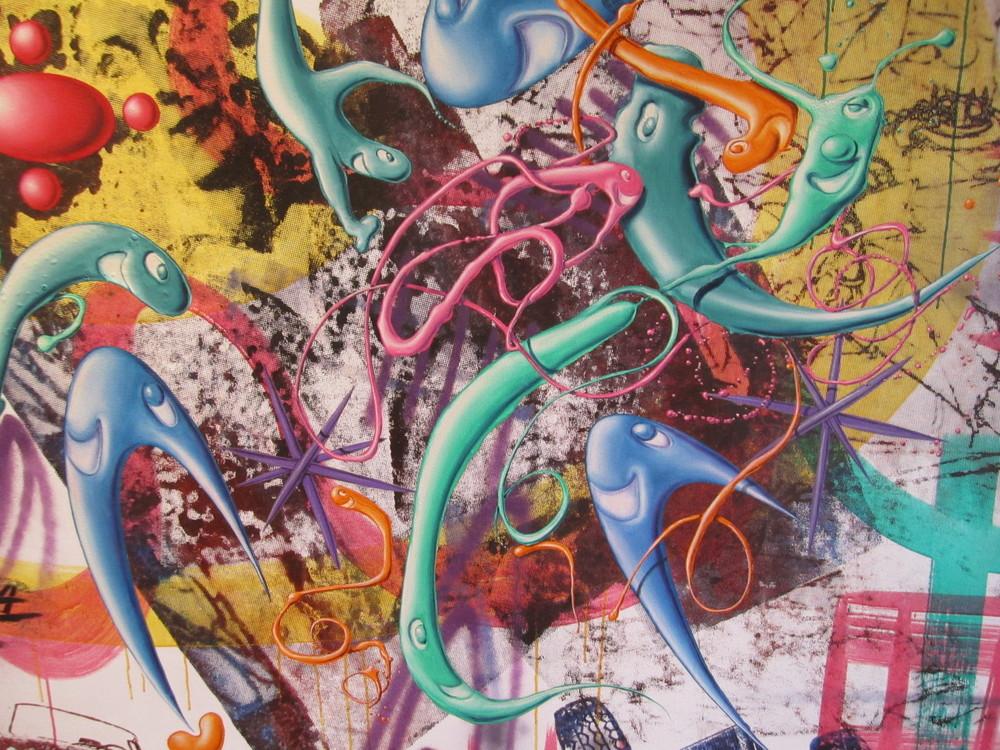 Kenny Scharf, close up of  Pop Renaissance , Nassau County Museum of Art