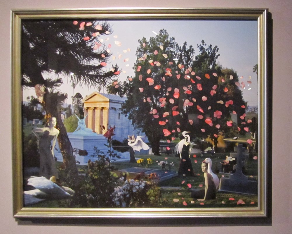 """Marnie Weber, From the series """"Graveyard"""", Collage of magazine illustrations on a color photograph, 2001."""