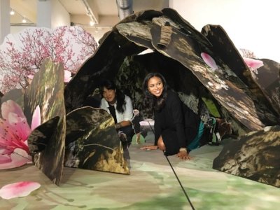 Colette Fu with Fox 29's Alex Holley in Tao Hua Yuan Ji 桃花源記, World's Largest Pop-up Book at 13.8 x 21 feet. Photo by Lori Waselchuk.