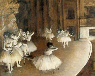 One must research how the ballerina was understood and interpreted by late 19th C. Parisians to understand the full context of Degas' Ballet Rehearsal on the Stage (1874)