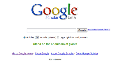"Screen shot of Google Scholar, a ""pre-research"" tool for researchers"