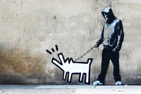 Banksy,  Ode to Keith Haring Dog  (2010)