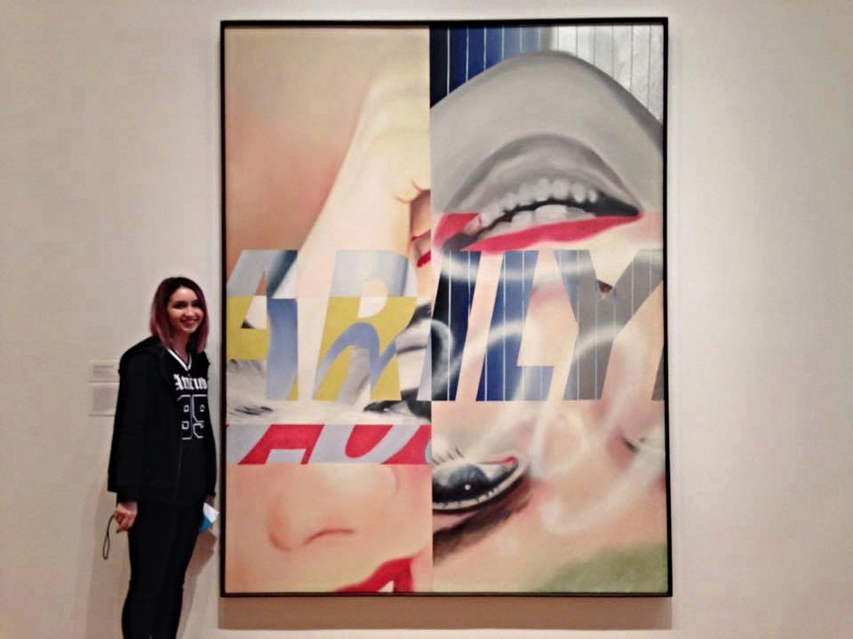 Michelle standing in front of her assigned art work, James Rosenquist's  Marilyn Monroe I  (1962)
