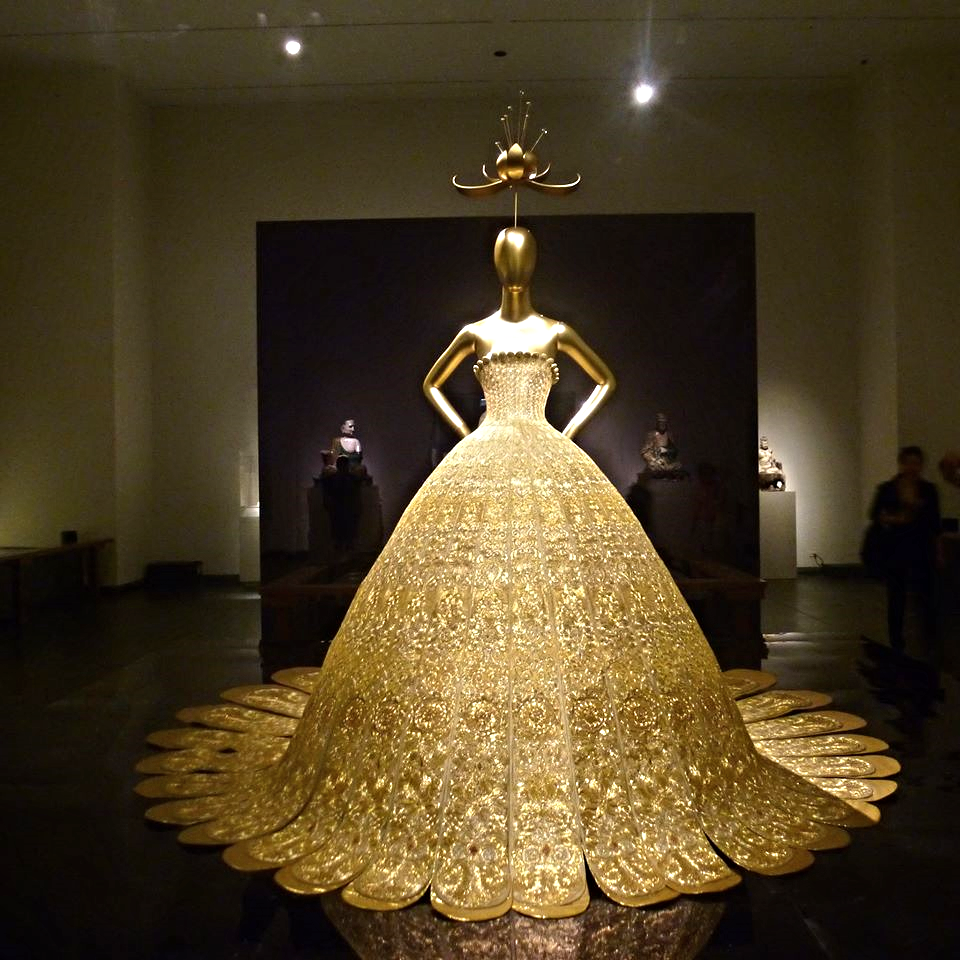"Michelle's favourite dress by Guo Pei, on display at the Met Costume exhibition ""China Through the Looking Glass"""