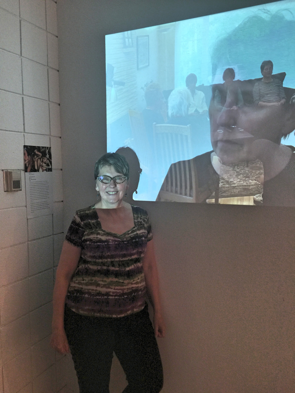 Here is Jude standing in front of her video performance piece; a response to the Schneemann work.