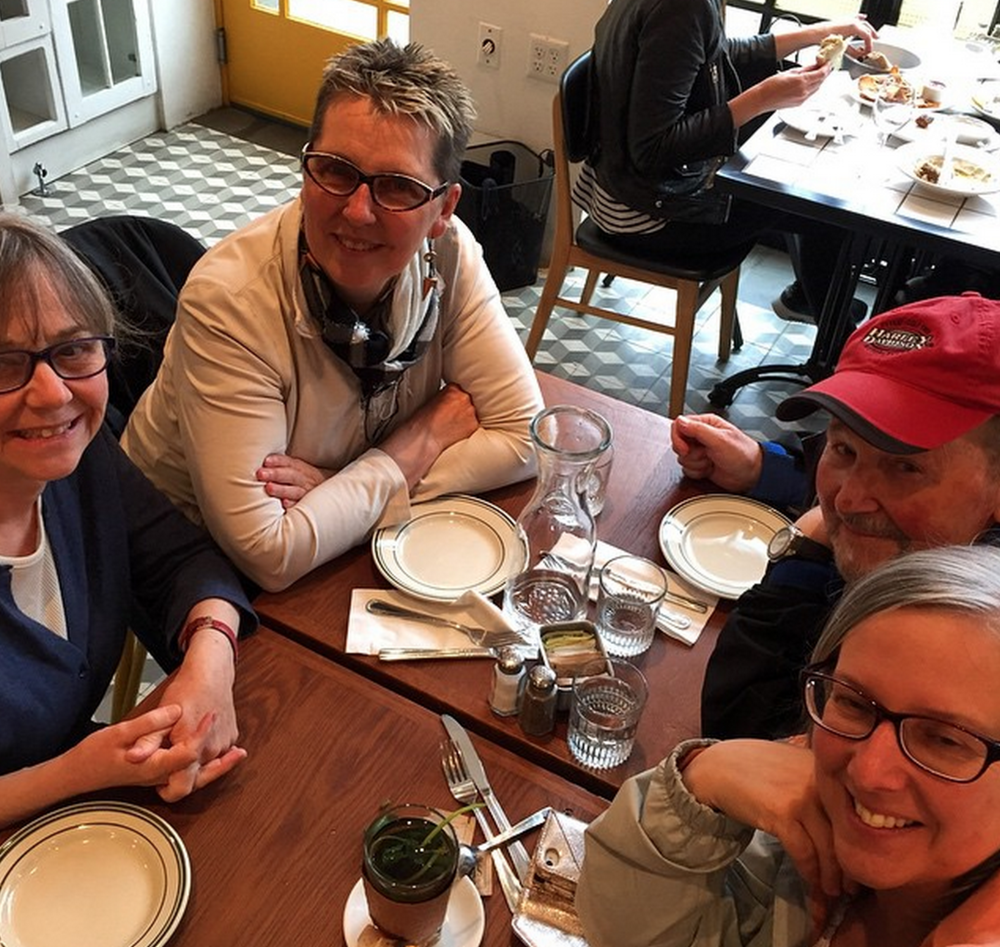 Larry (top right in photograph) enjoying lunch in Brooklyn with Margaret, Jude, and Angela.