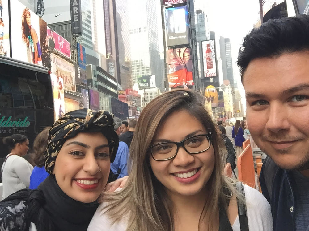 Durrah, Pauline, and James in Times Square, New York