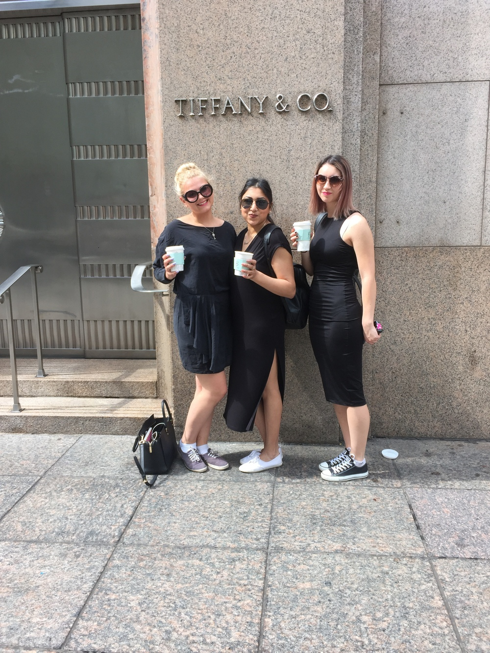 "The ""fashion girls""-- Olivia, Jessica, and Michelle, reenacting  Breakfast at Tiffany's  by, what else, having breakfast in Audrey Hepburn outfits outside Tiffany's on 5th Avenue."