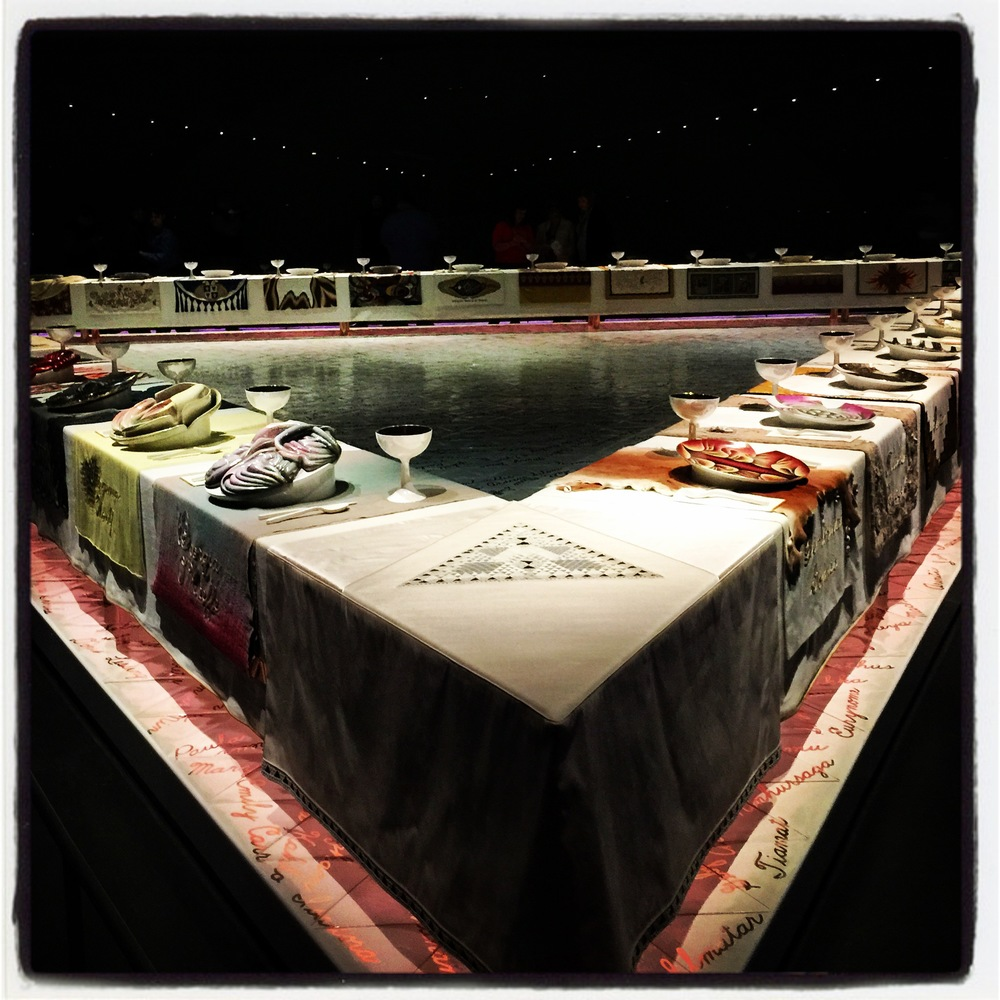 A shot of the beautifully installed Judy Chicago  The Dinner Party  captured the day of the visit.