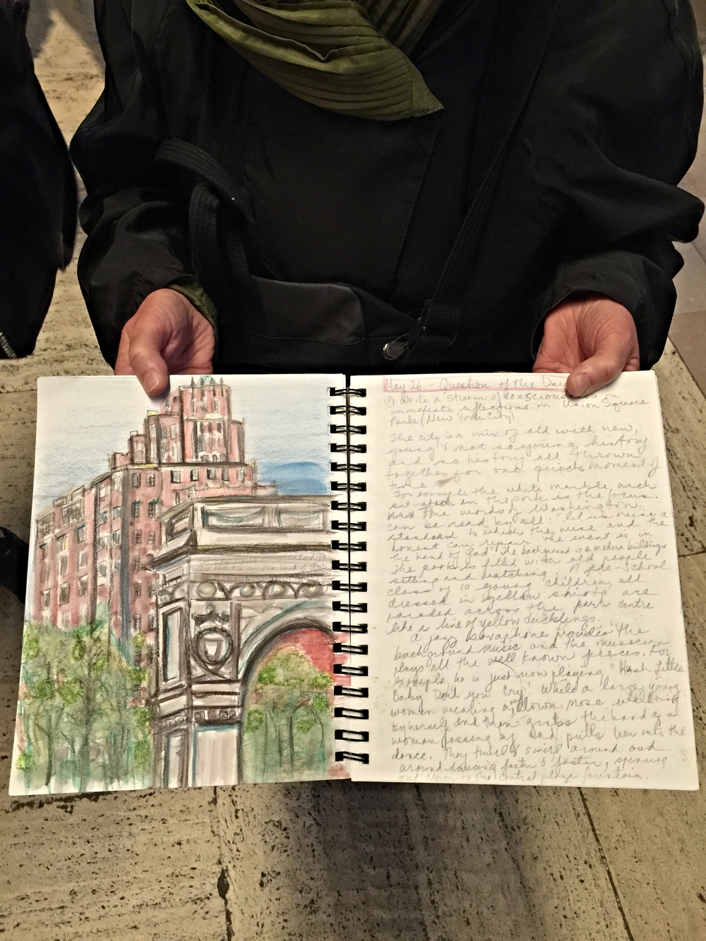 Margaret kept one of the most comprehensive and lovingly rendered journals on the trip-- here is a look inside a few of her pages with a sketch of Washington Square Park.
