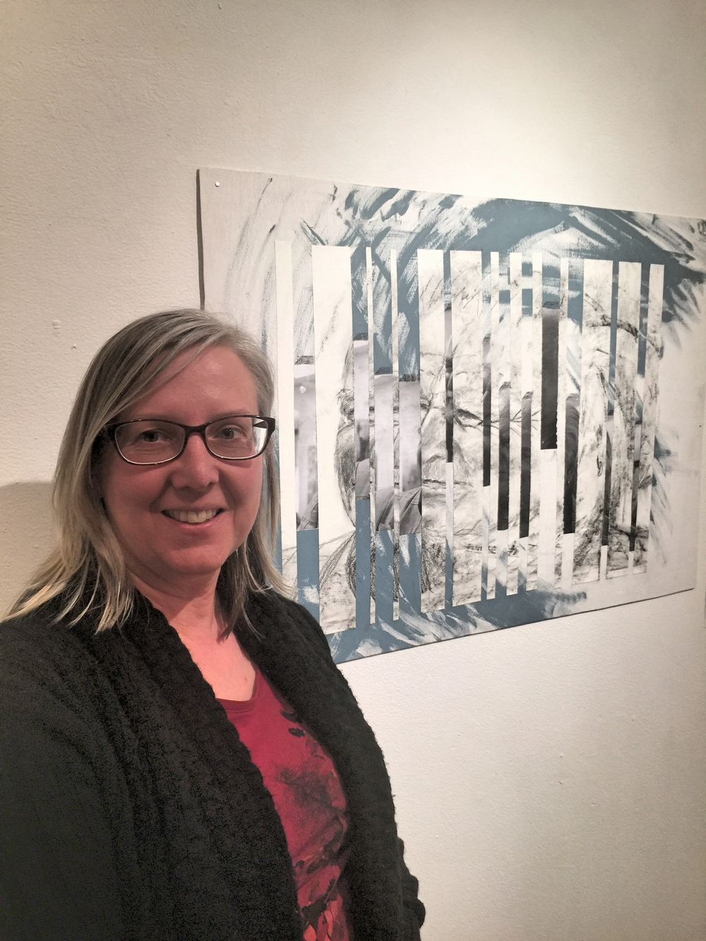 Angela with her response art work to Knizak at Kwantlen Polytechnic University, created prior to leaving for New York and Venice.