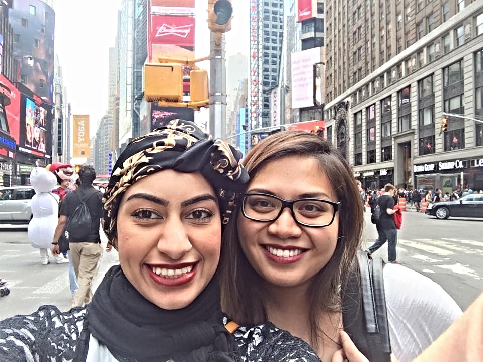 Durrah and Pauline capture a selfie in New York'sTimes Square.