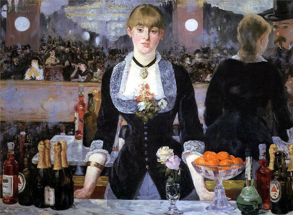 Eduard Manet, A Bar at the Folies-Bergère (1882)-- why doesn't this painting add up, and why is this important to the artists part of the Impressionist movement? Come learn more in FPA 167.