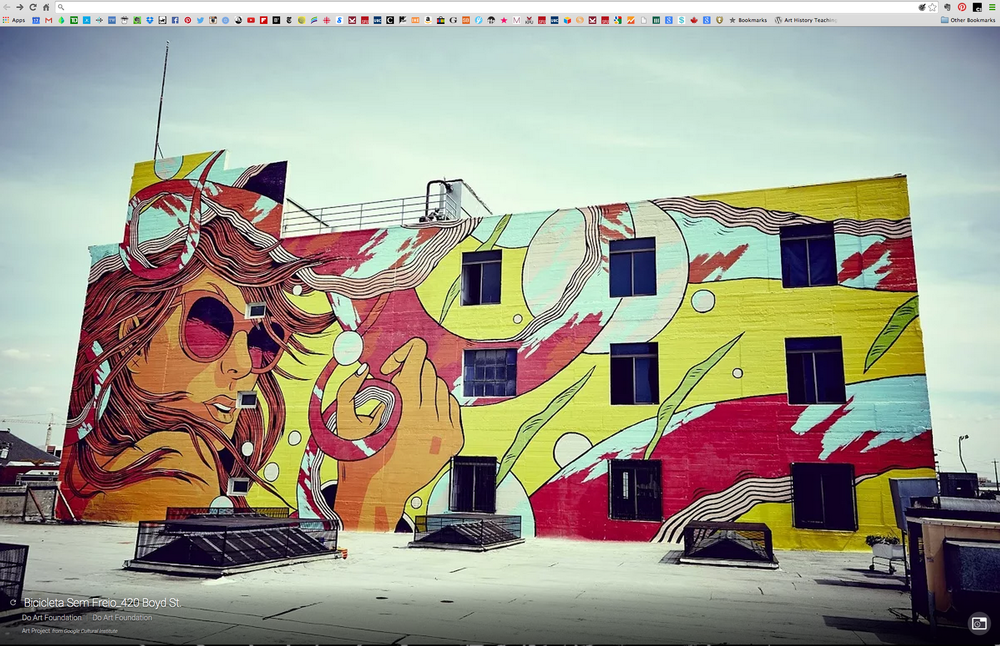 With every new tab, a new work of art. Google Art Project's Chrome Extension allows you a chance to discover (or rediscover) artworks from around the world, including street and public art. Shown here is art collective Bicicleta Sem Freio and their Los Angeles street mural painted in 2014. More info on this project can also be found here.