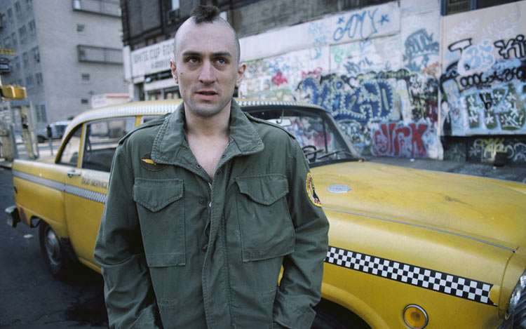 Robert De Niro as Travis Bickle in Martin Scorsese's Taxi Driver (1976)-- one of the many performances and films explored in the special topics course ARTH 3100: American New Wave Film this Spring 2016