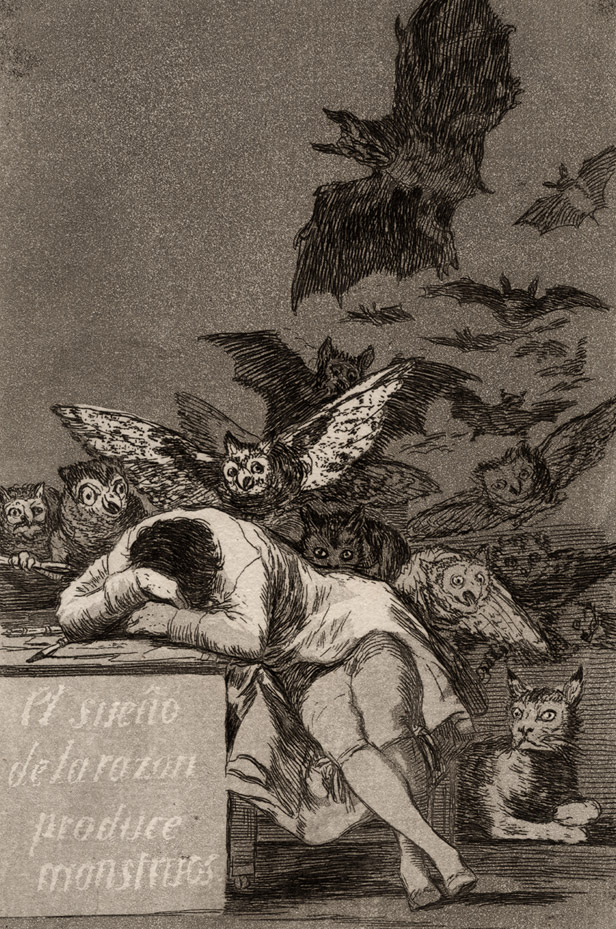 "Francisco Goya, Plate 43, ""Los Caprichos"": The sleep of reason produces monsters (1799)"