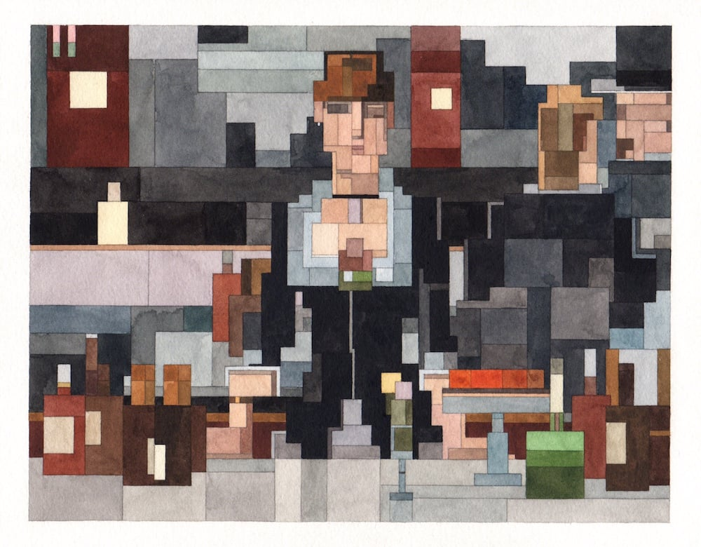 """""""New '8-Bit' Watercolor Paintings Inspired by Famous Artworks and Pop Culture Icons by Adam Lister"""""""