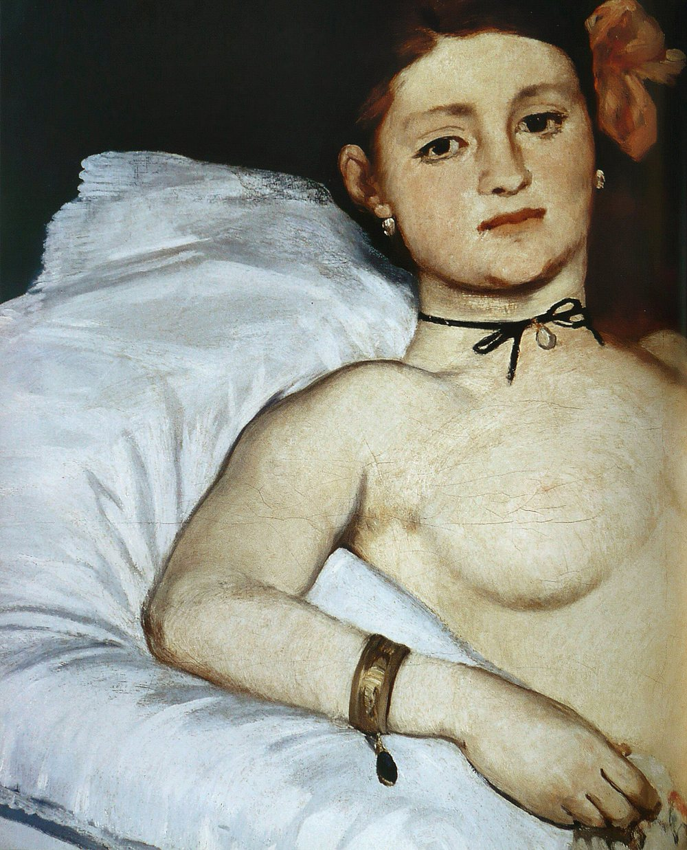 Note the details of a painting-- here we see Olympia wearing expensive gold jewellery.