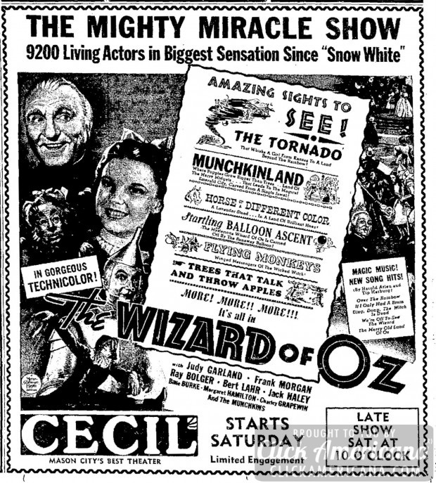 A newspaper advertising of  The Wizard of Oz  from 1939 shows how much the technological elements and special effects of the film were foregrounded.