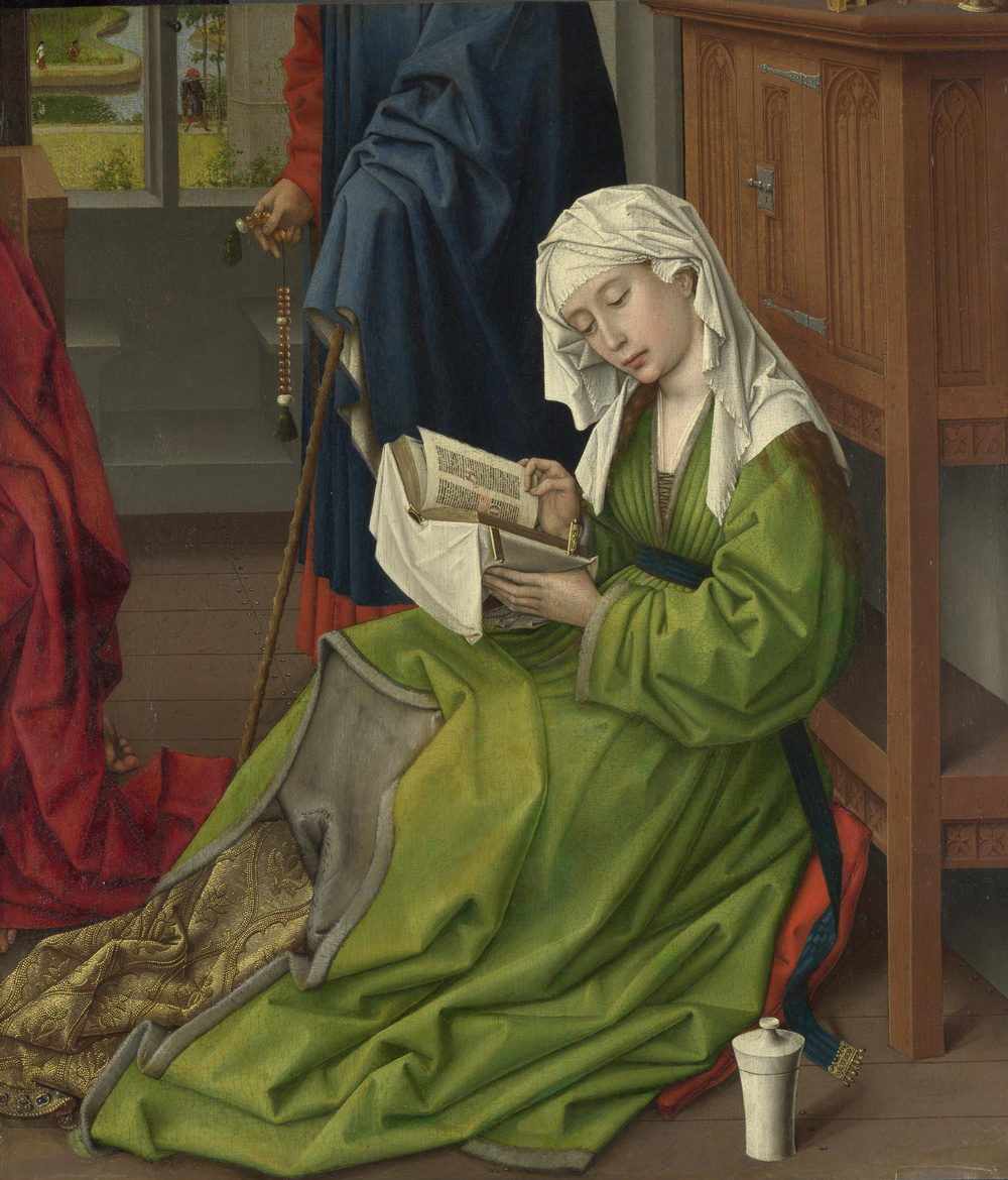 Rogier van der Weyden,  Magdalen Reading  (1438) -- I spotted this gem of a painting this past week while in London at the National Gallery.