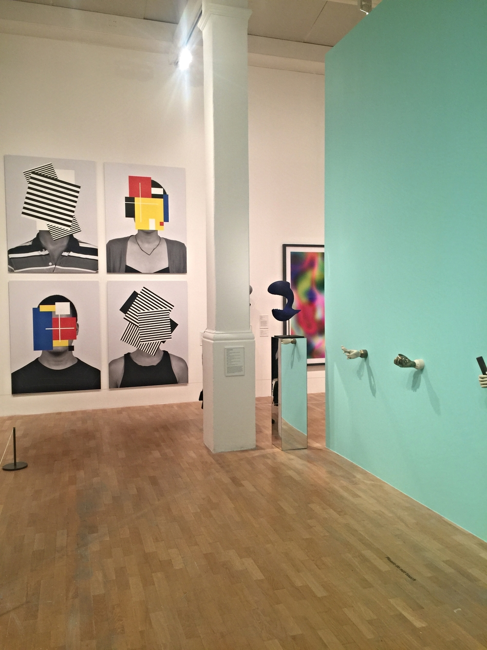 Interior Shot of exhibition with Douglas Coupland,  Deep Face  (2015) in background.